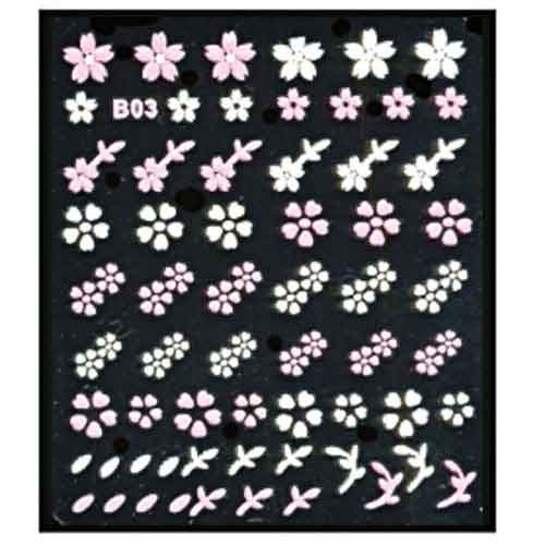 Наклейка для ногтей 03 Цветы бело-розовый микс
