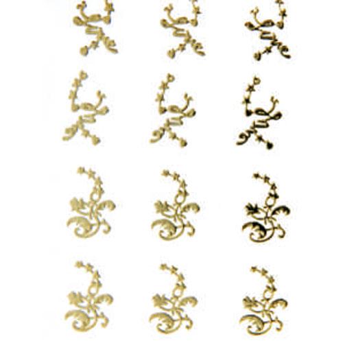 Наклейка для ногтей 103 Росчерк и звезды золотые