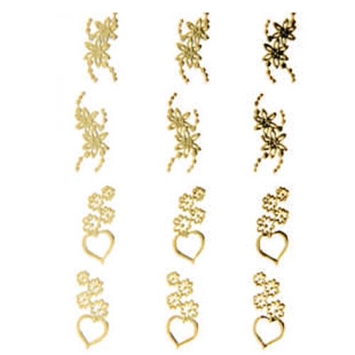 Наклейка для ногтей 105 Цветы и сердечки золотые