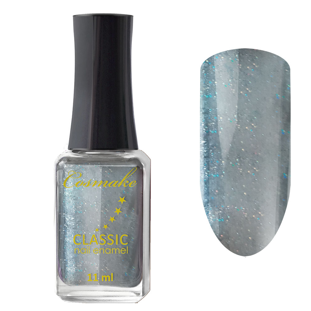 60 Лак для ногтей Cosmake CLASSIC 11 мл Серый с цветными блестками