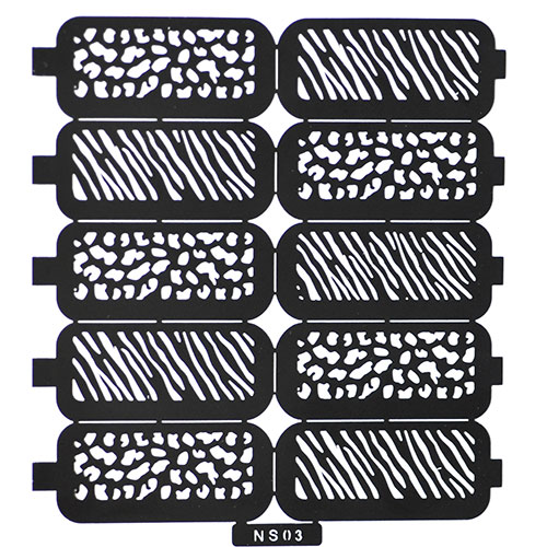 03 Трафарет для дизайна ногтей зебра