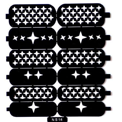 12 Трафарет для дизайна ногтей звезды