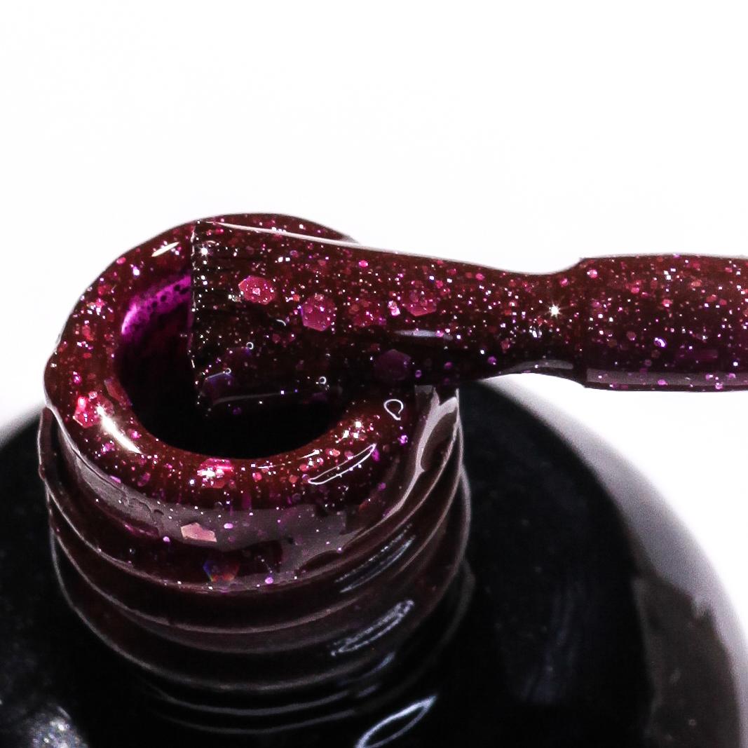 0074 Гель-лак с липким слоем 11мл Cosmake Бордо-розовый с блёстками