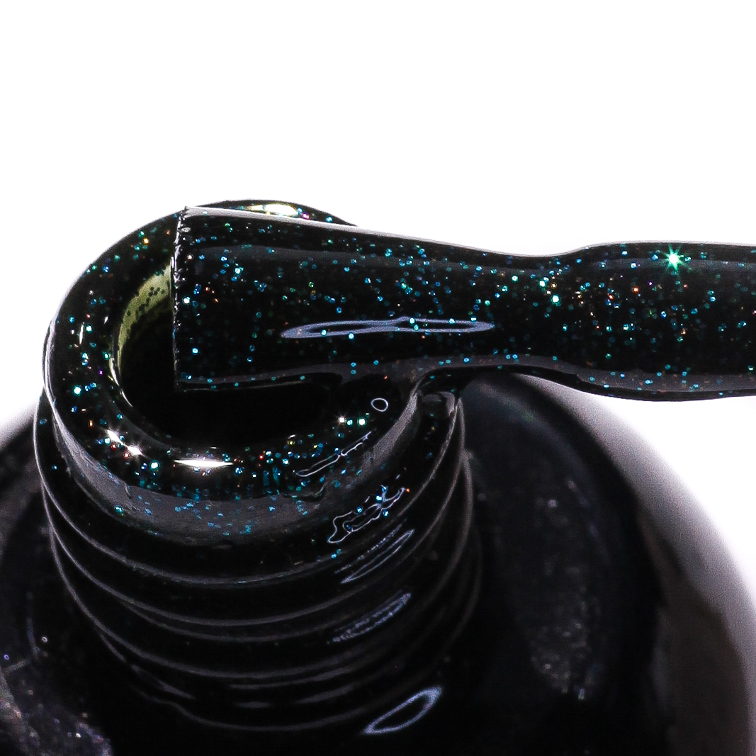 0114 Гель-лак с липким слоем 11мл Cosmake Темно-Зеленый с блестками