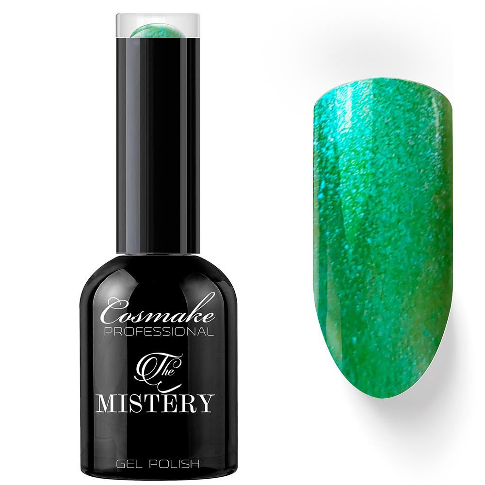 015 Гель-лак с липким слоем Mystery 11мл Cosmake Зеленый с синими блестками
