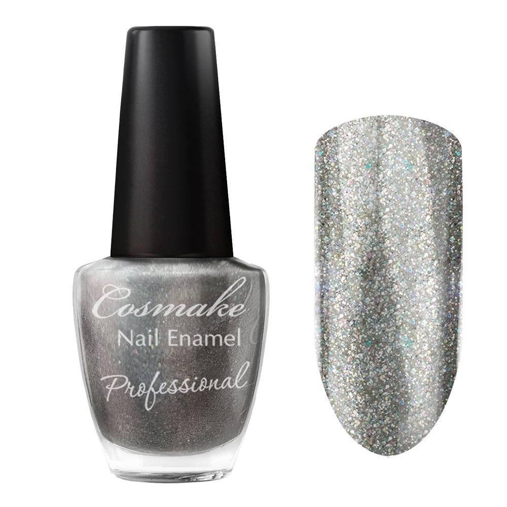 097 Лак для ногтей Professional Cosmake 16мл Серый с цветными блестками