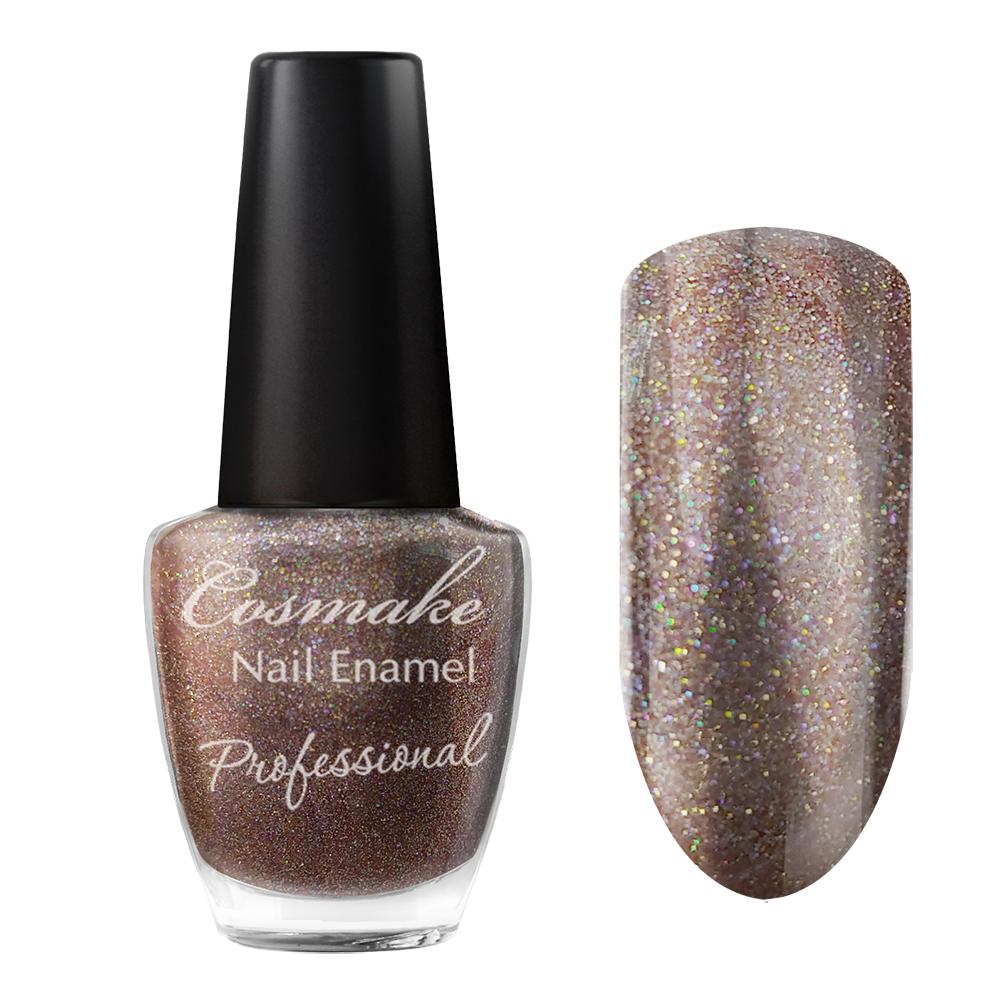 100 Лак для ногтей Professional Cosmake 16мл Коричневый с цветными блестками