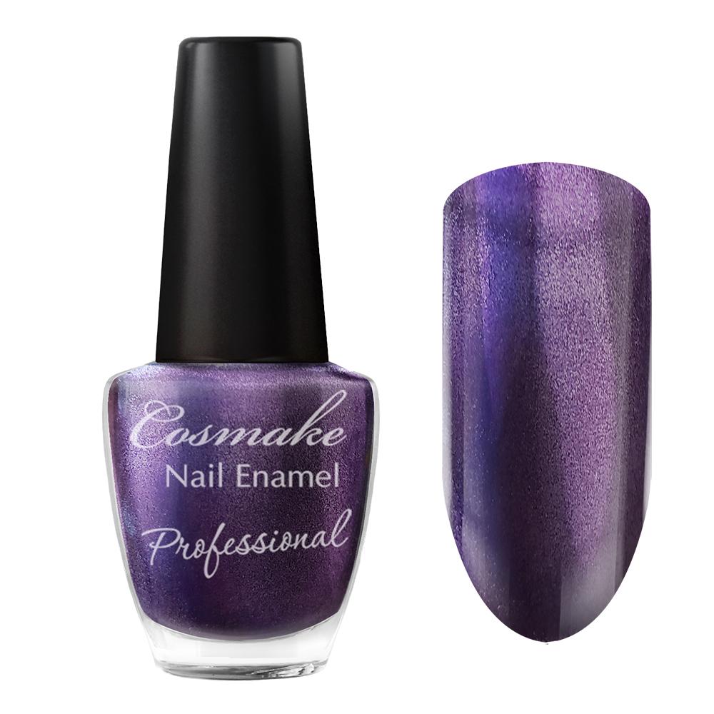 102 Лак для ногтей Professional Cosmake 16мл Фиолетовый с серебрянными блестками