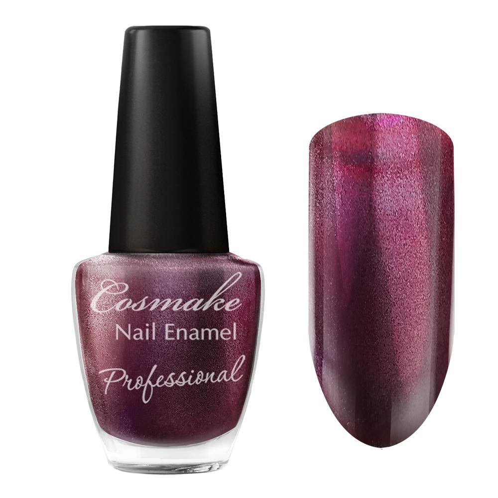 103 Лак для ногтей Professional Cosmake 16мл Бордовый с серебрянными блестками