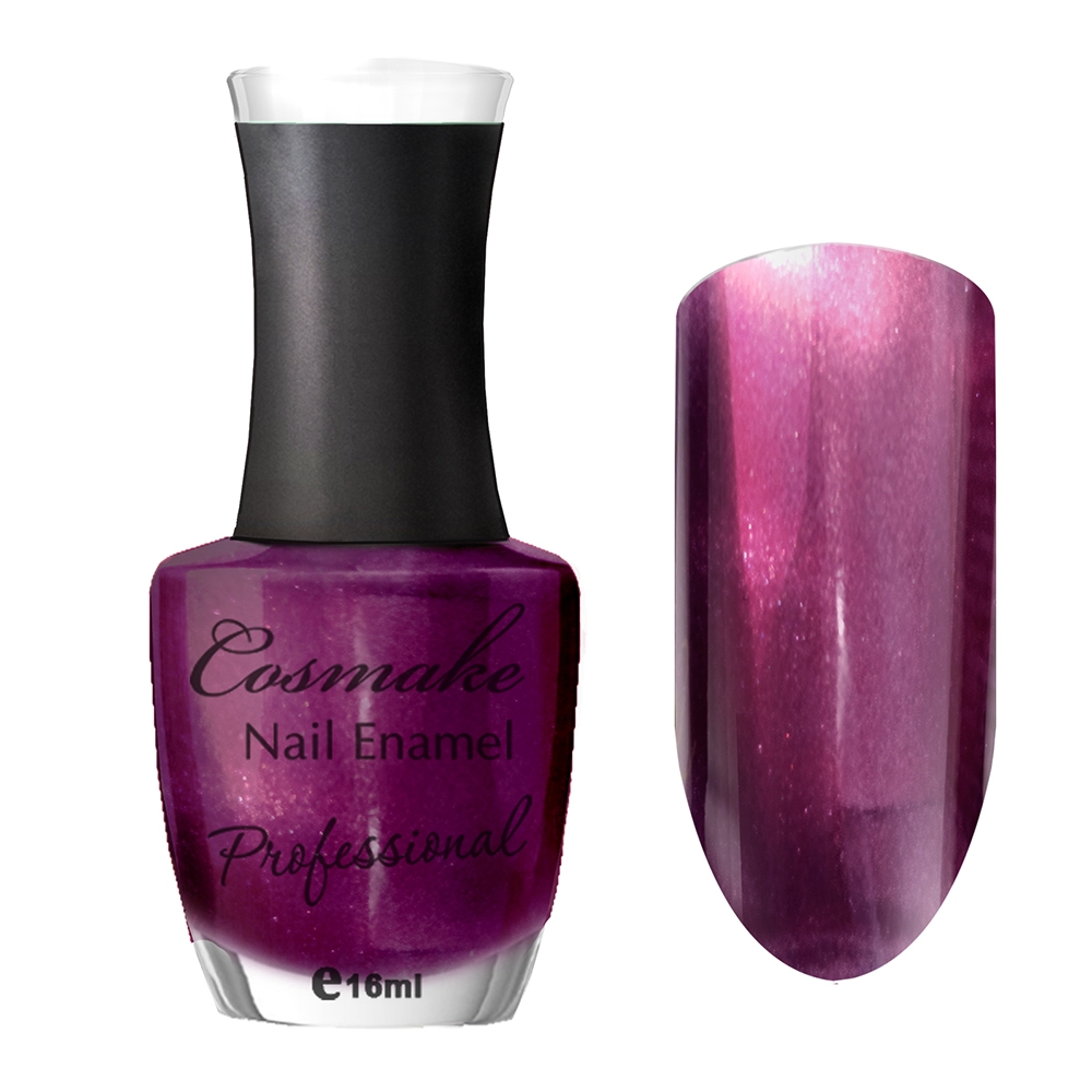 112 Лак для ногтей Professional Cosmake 16мл Темно-Сиреневый с шиммером