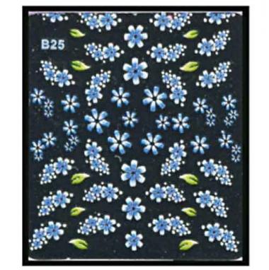 Наклейка для ногтей объемные 25 Васильки голубые