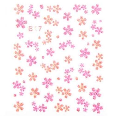 Наклейка для ногтей объемные 17 Цветы оранжево-малиновые