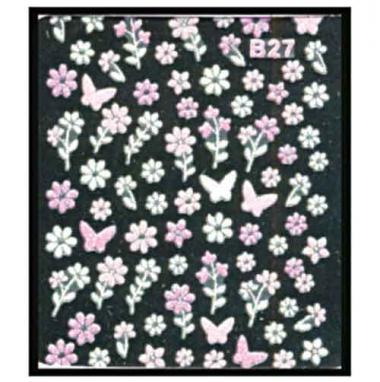 Наклейка для ногтей объемные 27 Цветы и бабочки