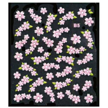 Наклейка для ногтей объемные 05 Цветы розовые