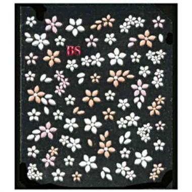 Наклейка для ногтей объемные 06 Цветы бело-оранжевые