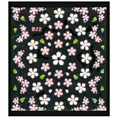 Наклейка для ногтей объемные 22 Цветы и листики зеленые