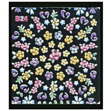 Наклейка для ногтей объемные 24 Розы микс