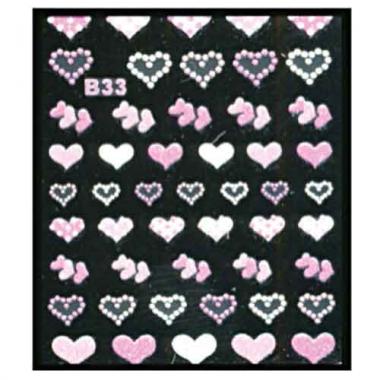 Наклейка для ногтей объемные 33 Сердечки микс