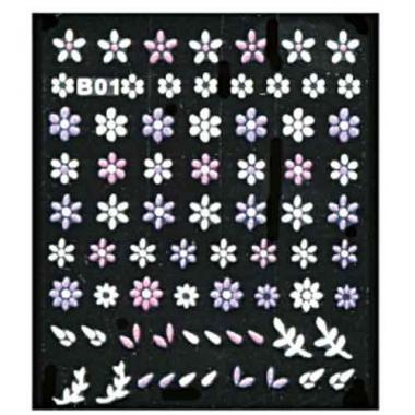 Наклейка для ногтей объемные 01 Цветы бело-сиреневый микс