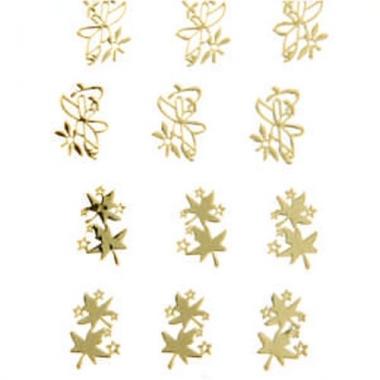 Наклейка для ногтей 107 Цветы и листики золотые