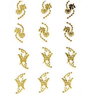 Наклейка для ногтей 109 Бабочки и цветы золотые