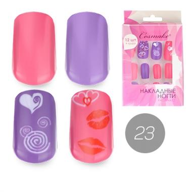 Ногти накладные 23 Сердечки розово-фиолетовый микс