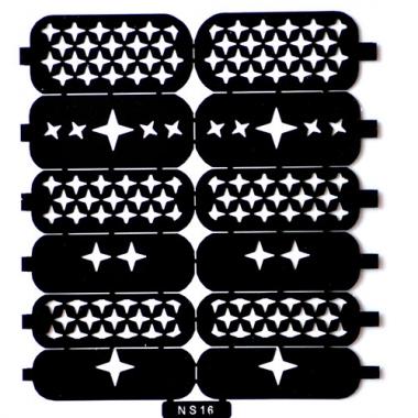 Трафарет для дизайна ногтей 12 звезды