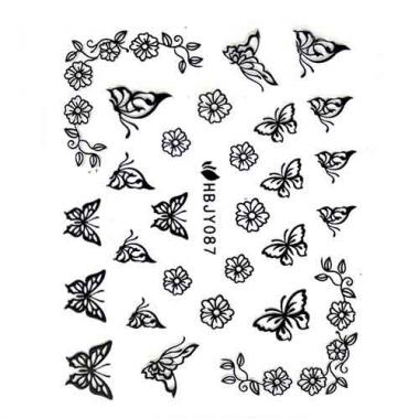 Наклейка для ногтей силиконовые 55 Бабочки и виньетки