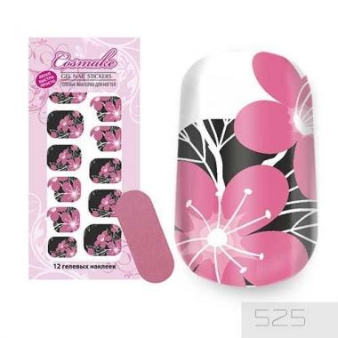 Гелевые Наклейки 525 Черно-розовые цветы