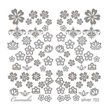 Слайдер Дизайн 703 фольг/серебро Цветочное ассорти