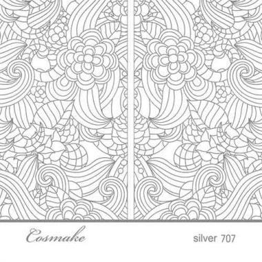 Слайдер Дизайн 707  фольг/серебро голография Букет цветов