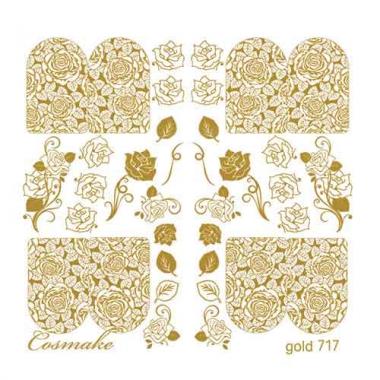 Слайдер Дизайн 717 фольгированный золото Розы