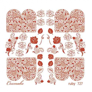 Слайдер Дизайн 727 фольгированный красный Розы