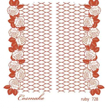 Слайдер Дизайн 728 фольгированный красный Розы