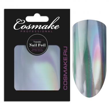 11 Фольга переводная для дизайна ногтей Cosmake Серебро голографика 1метр