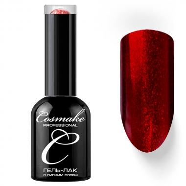 0072 Гель-лак с липким слоем 11мл Cosmake Красный с блёстками