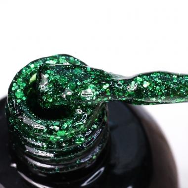 0078 Гель-лак с липким слоем 11мл Cosmake Зелёный с блёстками