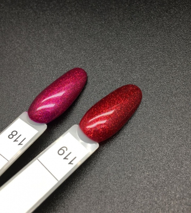 0119 Гель-лак с липким слоем 11мл Cosmake Бордовый с блестками