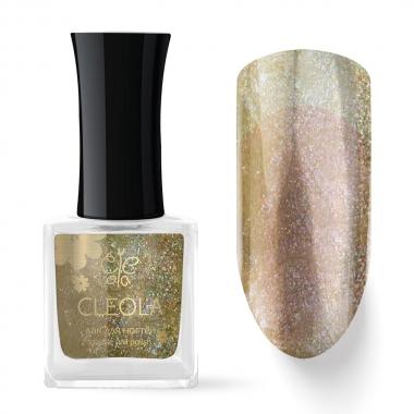 77 Лак для ногтей Cleola 9 мл Прозрачный с золотым шиммером
