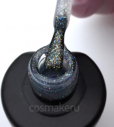 0654УФГель Топ c цветным микроблеском без липкого слоя Голография Cosmake 16 мл Germany