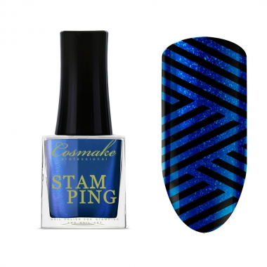 16 Лак для Стемпинга 9мл Cosmake сине-голубой металик
