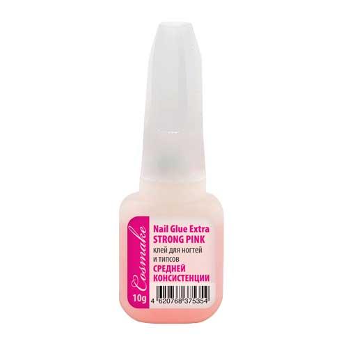 Клей Розовый сверхсильная фиксация для ногтей и типс с кисточкой 10 гр