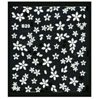 Наклейка для ногтей объемные 20 Цветы белые