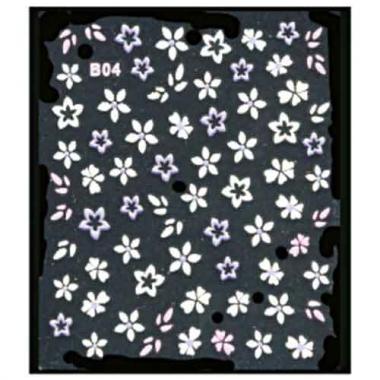 Наклейка для ногтей объемные 04 Цветы бело-сиреневые