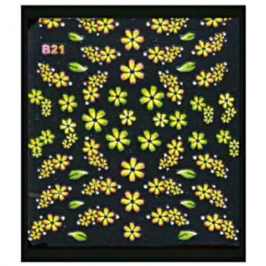 Наклейка для ногтей объемные 21 Цветы и листики желтые