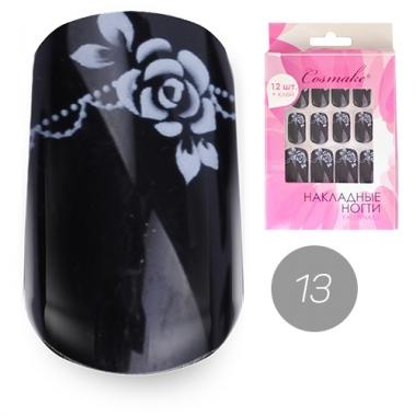 Ногти накладные 13 Розы черно-белые