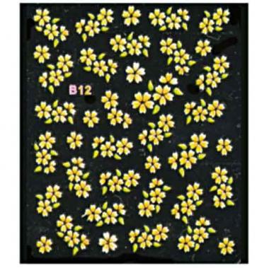Наклейка для ногтей объемные 12 Цветы желтые