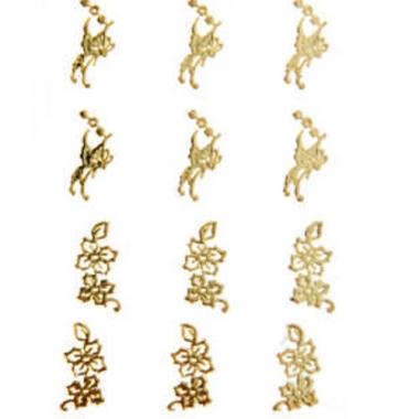 Наклейка для ногтей 104 Цветы и бабочки золотые