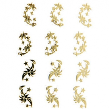 Наклейка для ногтей 106 Цветы золотые