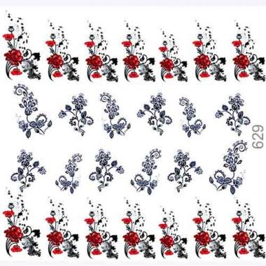 Слайдер дизайн 629 Цветы орнамент красно-черный